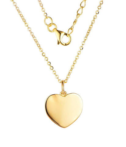 14k yellow Gold Heart Pendant Necklace, chain 40-50cm