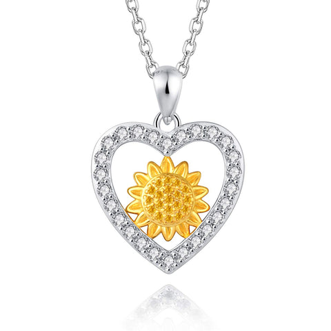 S925 Sterling Silver Yellow Heart Sunflower with CZ Warmth Positivity Pendant Necklace