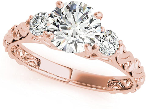 14K Gold 0.5 Ct. 4 Prong Round Cut Unique Classic Three-Stone Diamond Engagement Ring for Ladies  1/2 ctw Genuine Diamond For Wedding