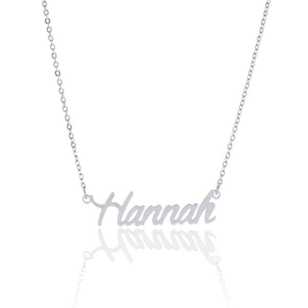 """Hannah""-925 Sterling Silver Personalized Name Necklace Adjustable Chain 16""-20"""