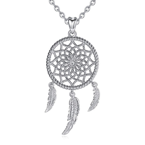 Dream Catcher Dangling Feather Necklaces