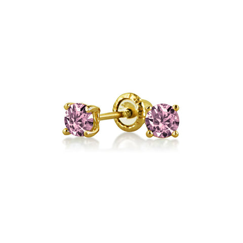 Tiny Cubic Zirconia Simulated Birthstone AAA CZ Round Solitaire Stud Earrings Real 14K Yellow Gold Screwback
