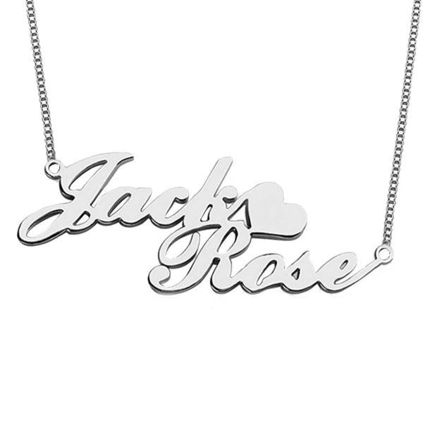"Personalized Double Name Necklace with Heart Adjustable 16""-20"""