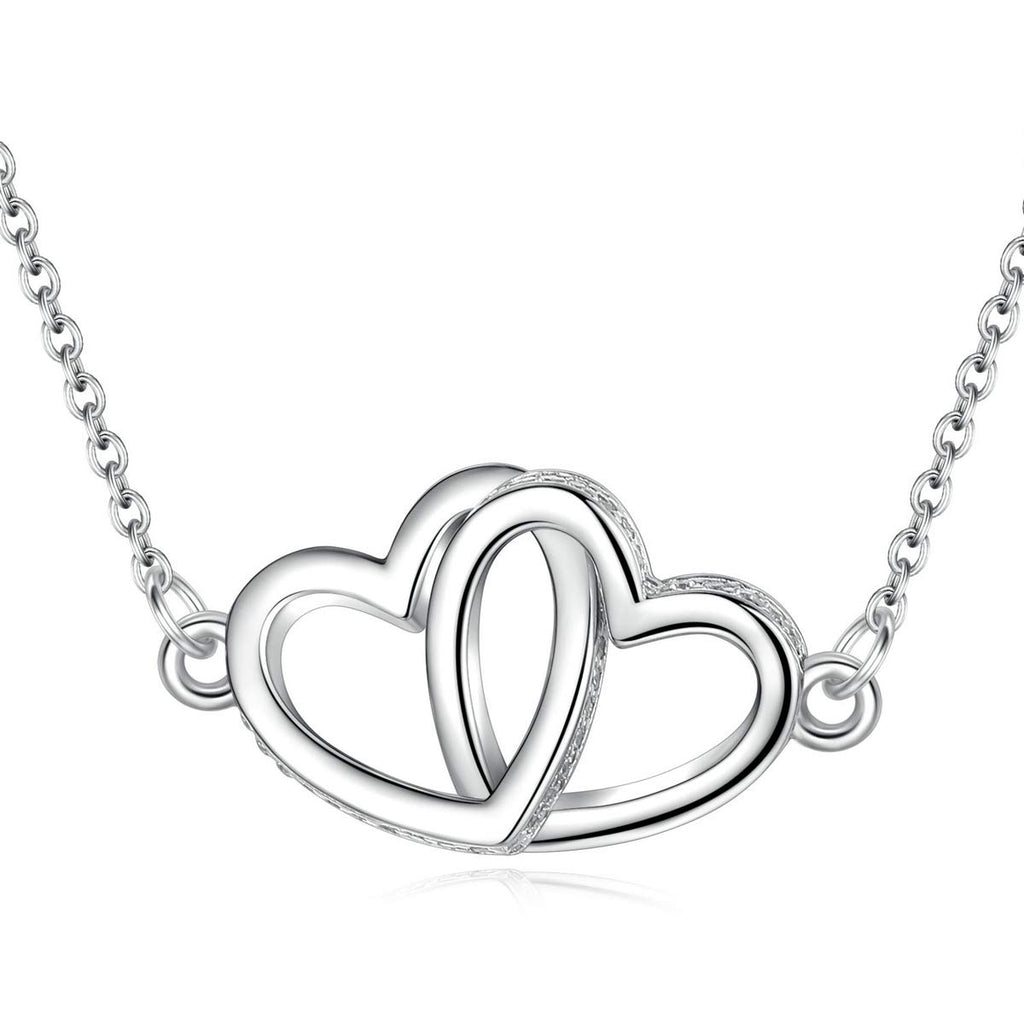 S925 Sterling Silver Two Heart Shaped  Necklace Pendant Jewelry for Women