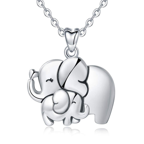 Lucky Elephant Animals Necklace with Cubic Zirconia, Mother Daughter Jewelry - 18inch Chain