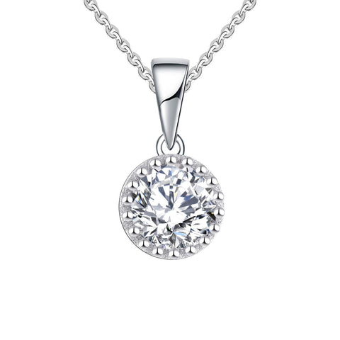 14k White Gold 0.85ct Forever One Moissanite Solitaire Pendant Necklace