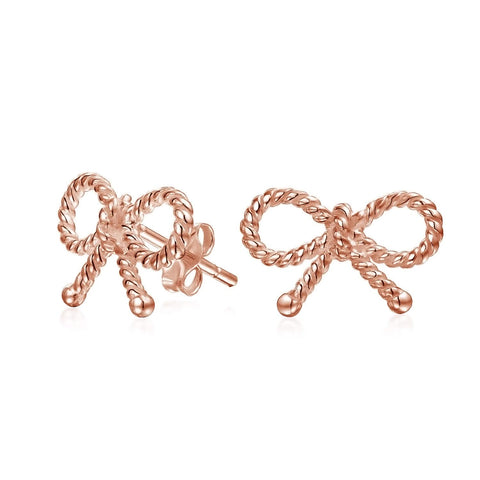 Thin Dainty Twist Rope Cable Ribbon Bow Stud Earrings For Women For Teen Rose Gold Plated 925 Sterling Silver