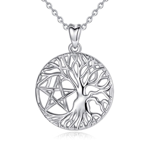 S925 Sterling Silver CZ tree of life-star Necklace for Women