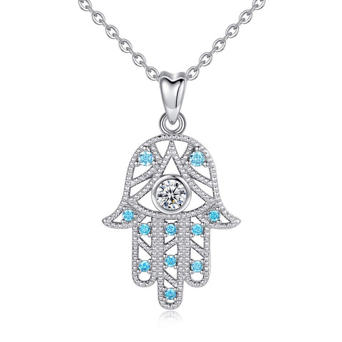 S925 Sterling Silver CZ Evil Eye Pendant  Hamsa Necklaces for Women