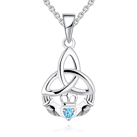 925 Sterling Silver Irish Celtic Heart Claddagh Pendant Necklace with Birthstones