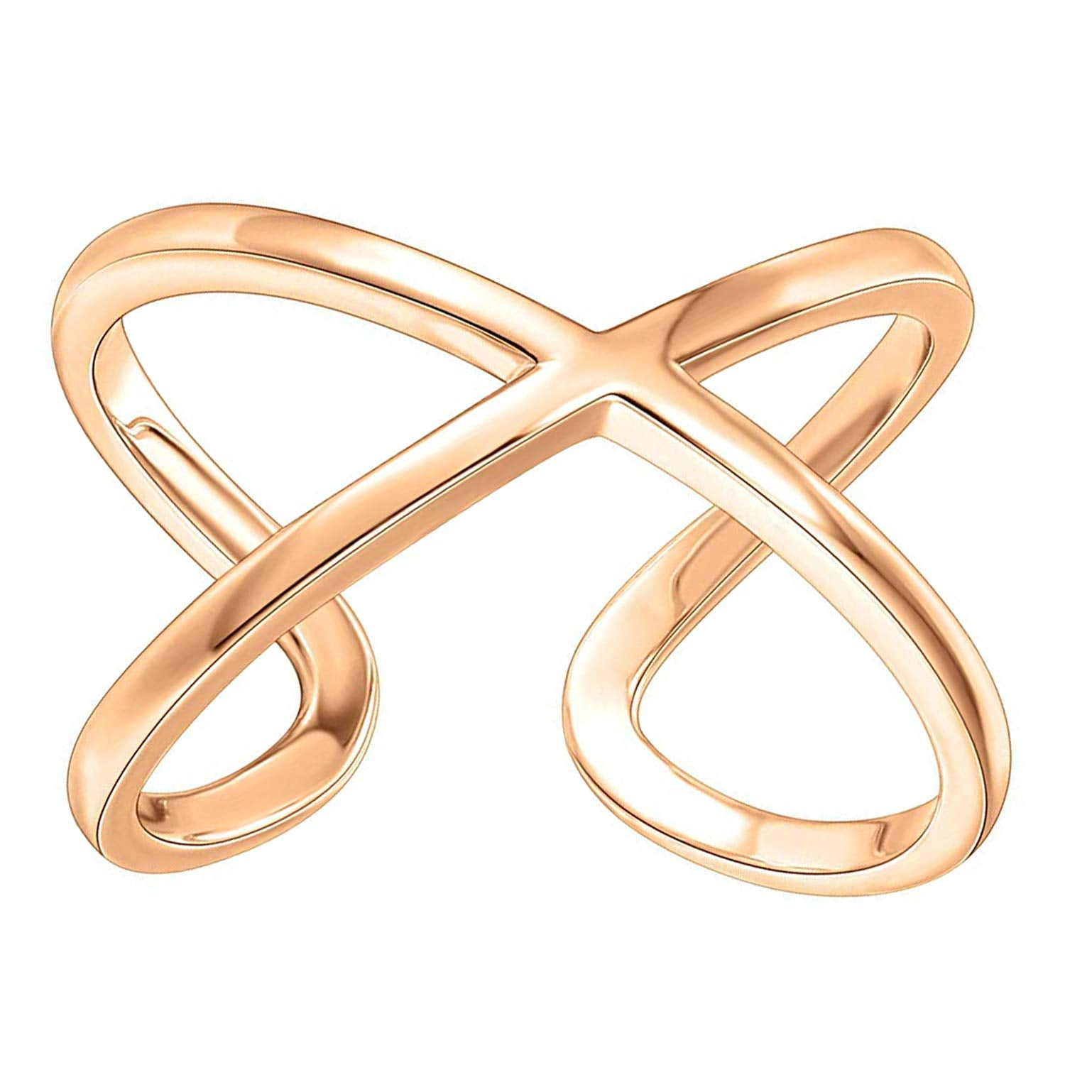 14K Gold Plated Crossover X Stackable Rings | Gold Rings for Women