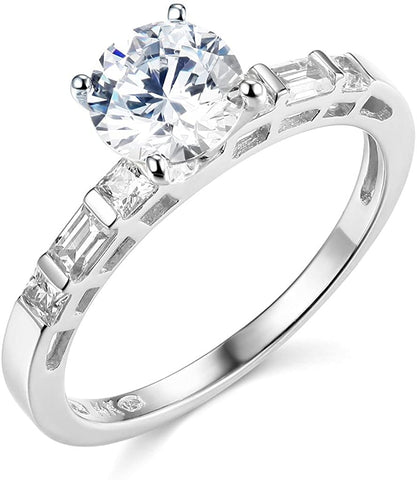 14k White Gold With Solitaire  Diamond Wedding Engagement Ring