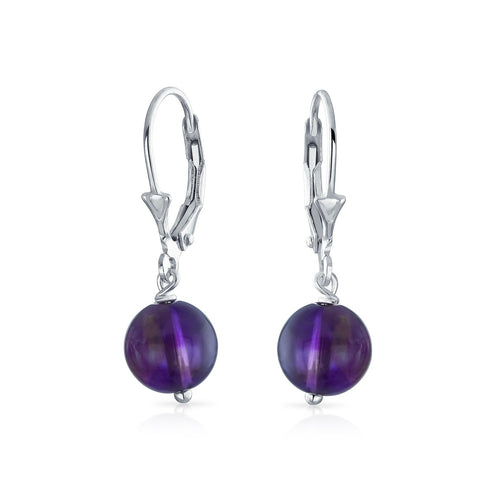 Simple Leverback Round Gemstone Bead Ball Drop Earrings For Women For Teen 925 Sterling Silver