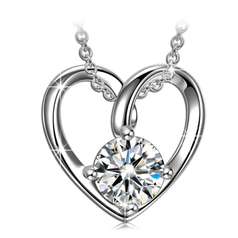 925 Sterling Silver Cubic Zirconia Heart Necklaces Cupid's Arrow Valentines Anniversary Romantic Gifts for Women Wife Girlfriend Wedding Birthday Gifts