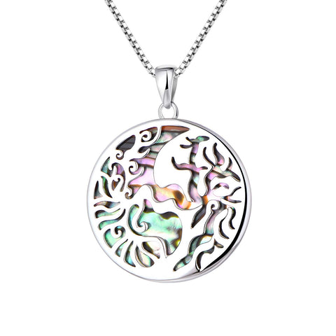 925 Sterling Silver Mother of Pearl Tree of Life Necklaces Pendant