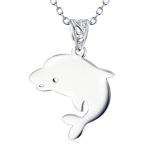 Cute Dolphin Shaped 925 Sterling Silver Pendant Necklace