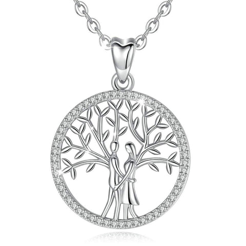 S925 Sterling Silver CZ tree of life-love Necklace for Women