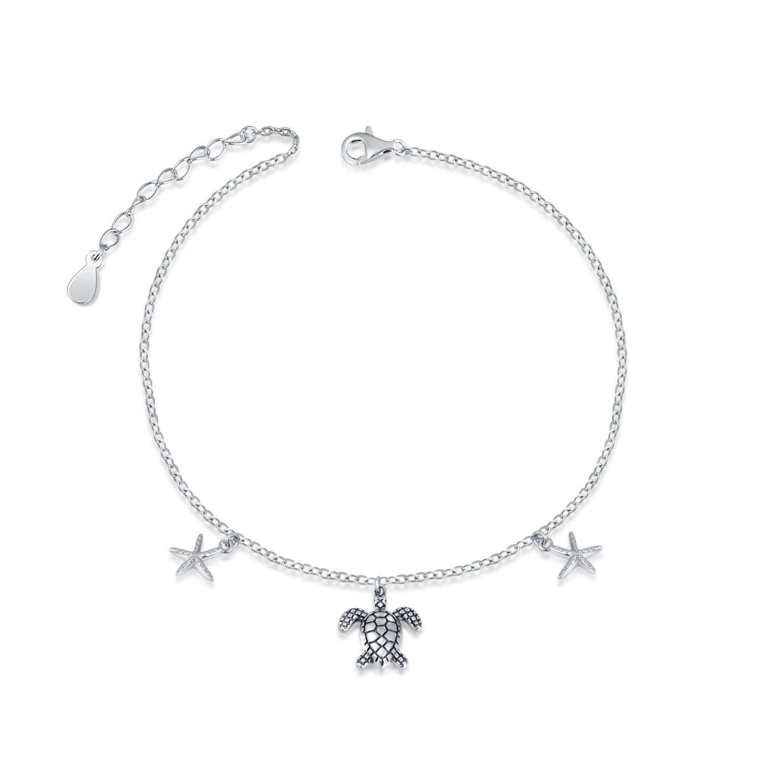 925 Sterling Silver Starfish Sea Turtle  Anklet Foot Chain Jewelry for Women Girls