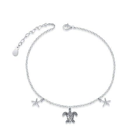 925 Sterling Silver Starfish Sea Turtle Anklet/Necklace Ankle Bracelet Foot Chain Jewelry for Women Girls