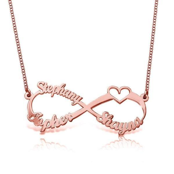 "925 Sterling Silver Personalized Infinity Name Necklace With 3 Names Adjustable 16""-20"""