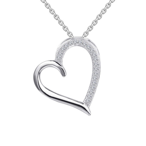 14k White Gold 0.105ct Diamond Heart Pendant Necklace