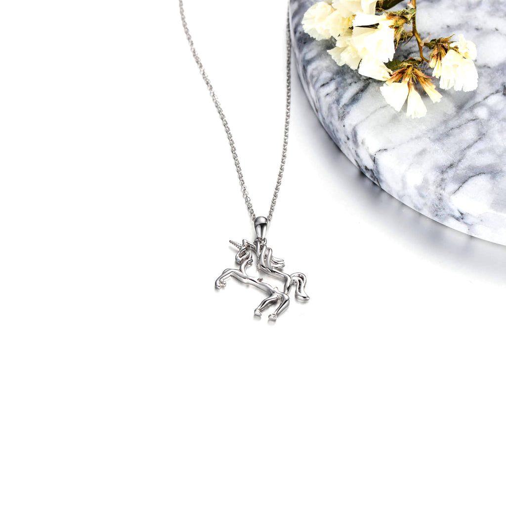 Unicorn Necklace Animal Shape Children and Men Like Silver Chain Necklace