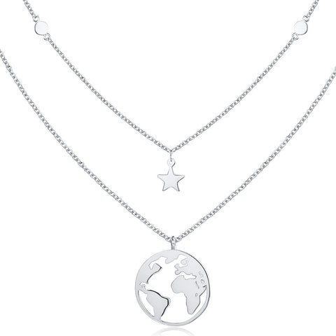 Silver Layered Choker Necklace Disc World Map Star Pendant Necklaces