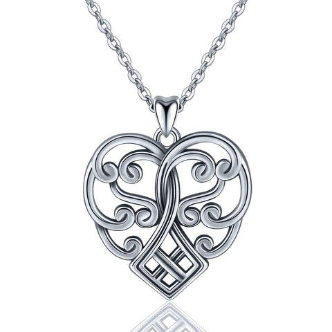 Sterling Silver Celtic knot Heart Shaped Necklace Pendant Jewelry for Women