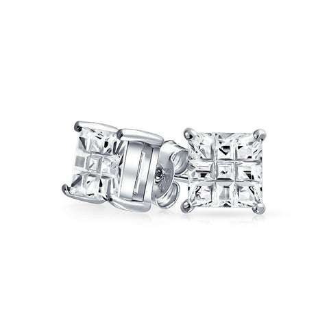 Geometric Cubic Zirconia CZ Square Princess Invisible Cut Stud Earrings For Men Women Sterling Silver