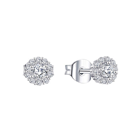 14k White Gold Moissanite Diamond Halo Stud Earrings
