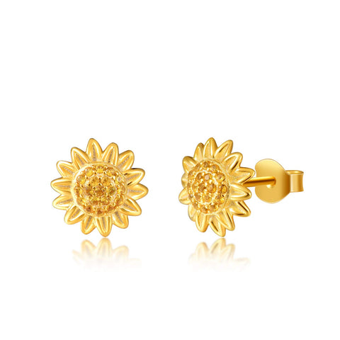 Yellow Sunflower with CZ Warmth Positivity Earrings