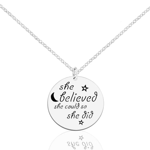 Inspirational Necklaces Star Pendant Sterling Silver 925 Necklace She Believed She Could So she Did Jewelry Gift Women Girl