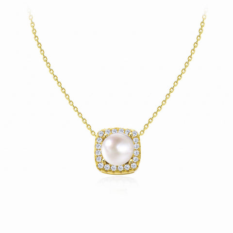 Single Pearl Necklace Sterling Silver Square Halo Pendant Gold Necklaces for Women Bridesmaid Gift