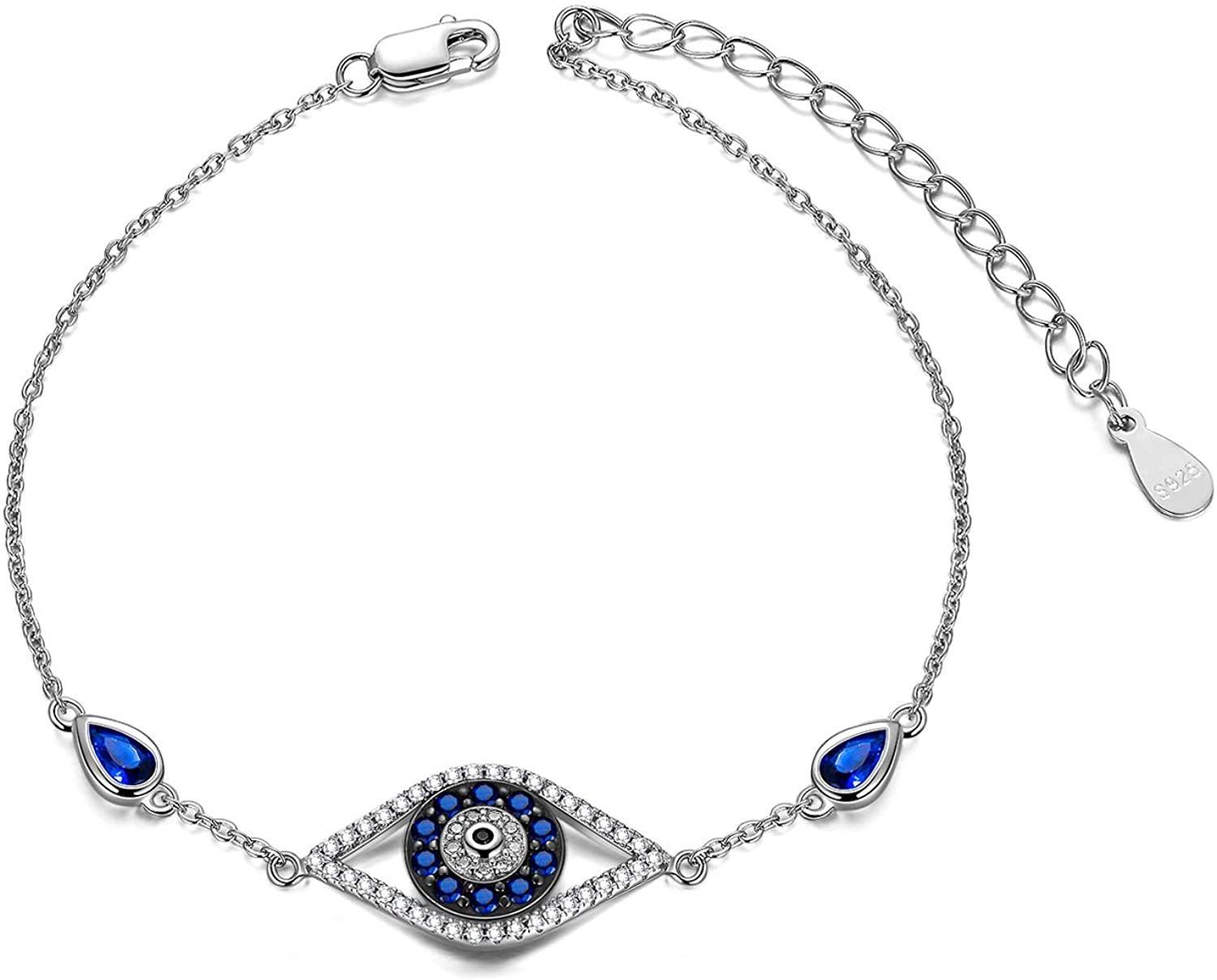 Sterling Silver Evil Eye  Bracelet, Blue Cubic Zirconia Link Bracelet for Women Ladies