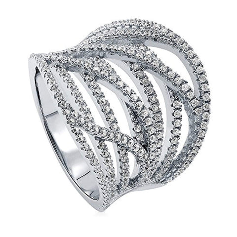Rhodium Plated Sterling Silver Cubic Zirconia CZ Statement Woven Cocktail Fashion Right Hand Ring