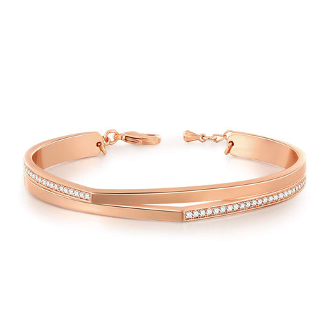 14K Rose Gold Bracelet ''Lucky 7'' Adjustable Cuff Bangle Bracelets for Women, Crystals from Swarovski