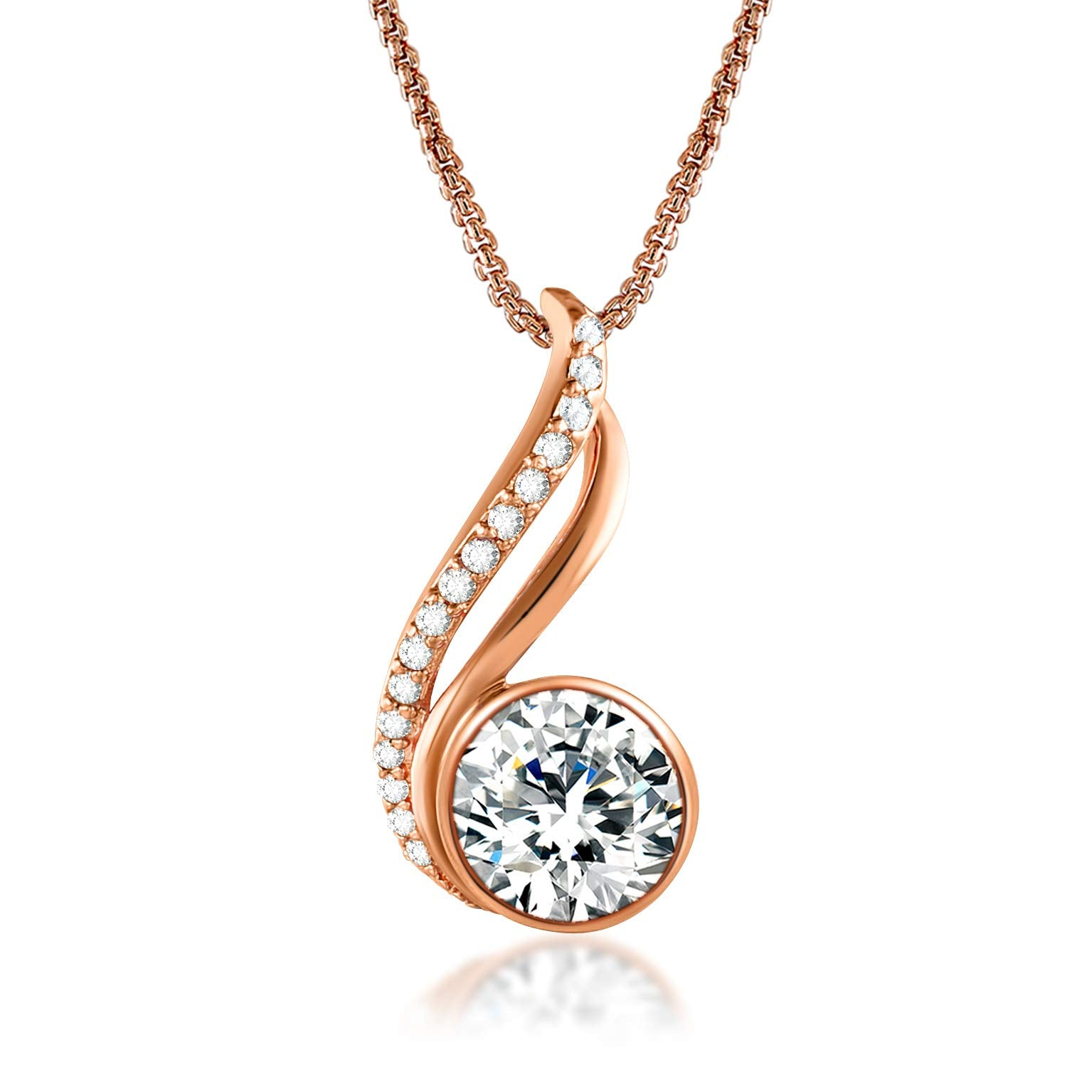 S925 Sterling Silver Rose Gold Pendant Plated Jewelry You're in My Heart Cross Necklace for Women Girls