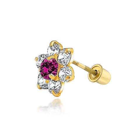Red Cubic Zirconia Flower Helix Cartilage Ear Lobe Piercing Daith CZ 1 Piece Stud Earring Real 14K Gold Screwback