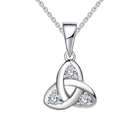 14k White Gold 0.13ct Diamond Celtic Love Knot Pendant Necklace