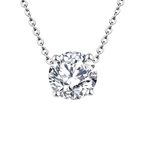 14k White Gold 0.8ct 6mm Forever One Moissanite Solitaire Pendant Necklace