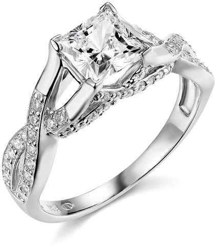 14k Yellow OR White Gold Princess Square in Wedding Engagement Ring For Lovers