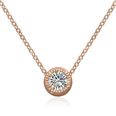 CZ Solitaire Pendant Necklaces