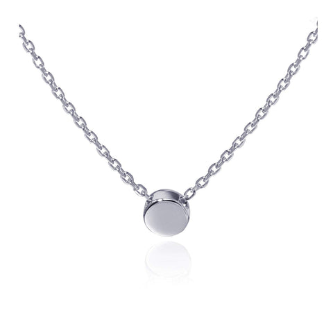 Sterling Silver Tiny Dot Necklace Round Circle Necklace for Women