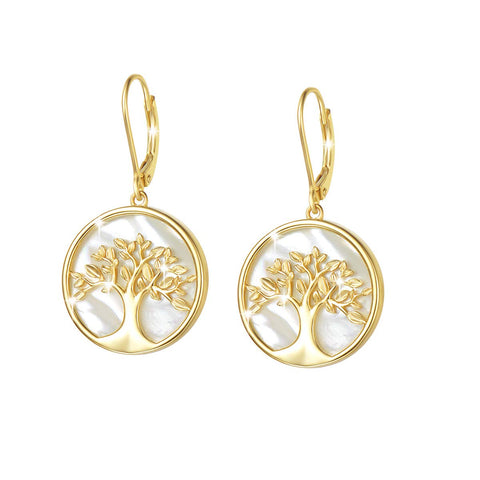 Tree of Life Dangle Earrings Sterling Silver Natura Mother of Pearl Fine Jewelry