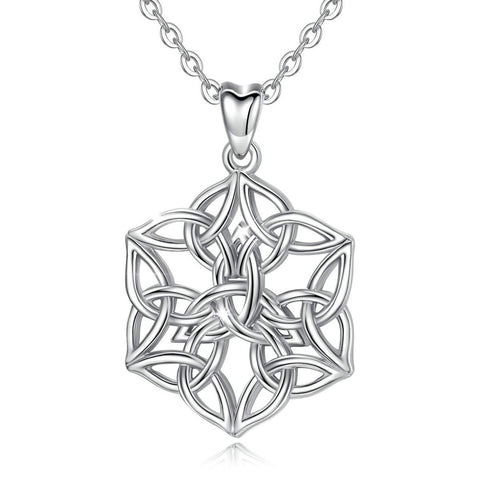 S925 Sterling Silver Celtic Knot Necklace Flower of Life Necklace Celtic Infinity Jewelry Gifts for Her