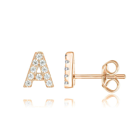 14K Rose Gold Plated Sterling Silver CZ Alphabet Letter Earrings | Initial Earrings for Girls