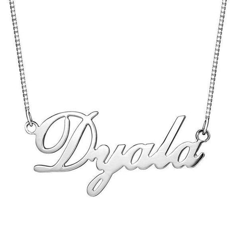 """Dyala""-925 Sterling Silver Personalized Name Necklace Adjustable 16""-20"""