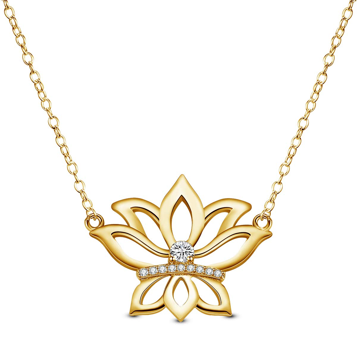 Lotus Flower Pendnat Necklace