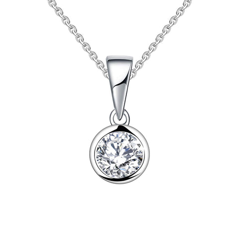 14k White Gold  Forever One Moissanite Solitaire Pendant Necklace