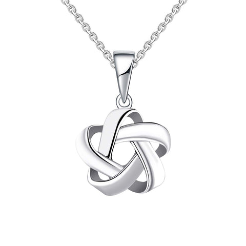 14k White Gold Celtic Love Knot Pendant Necklace